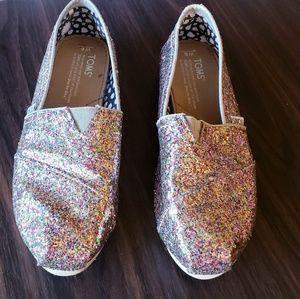 Rainbow Glitter TOMS Slip-on Flats